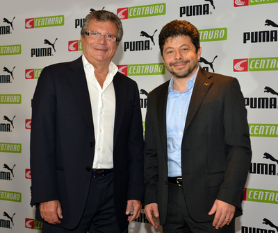 Centauro owner Sebastiao Bomfim with PUMA CCO Stefano Caroti at the announcement of the sub-licensing of contractual rights to the Cameroon, Ghana, Ivory Coast and Senegal Football Associations (PRNewsFoto/PUMA SE)