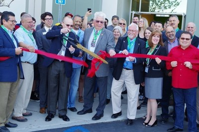 Andy Greenwalt, President and CEO of Emerson Ecologics, is joined by local officials, community leaders and the Emerson Ecologics' team for the grand opening ceremonies at their new west coast distribution center in Riverside, California.