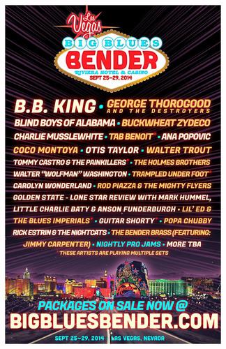 BB King headlines THE BIG BLUES BENDER, Las Vegas's World Class Blues Festival! Sept 25-29, 2014 ON SALE NOW @ bigbluesbender.com. (PRNewsFoto/Big Blues Bender)