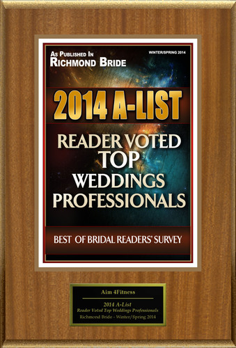"""Aim 4Fitness Selected For """"2014 A-List: Reader Voted Top Weddings Professionals"""". (PRNewsFoto/Aim 4Fitness) (PRNewsFoto/AIM 4FITNESS)"""