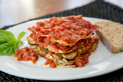 Plantasagna(R): Fred & Ricky's take on classic lasagna where whole wheat noodles are layered with a rich, chunky tomato sauce, earthy sun dried tomatoes and a mushroom, zucchini, onion, tofu mixture that provides plenty of non-cheesy richness.