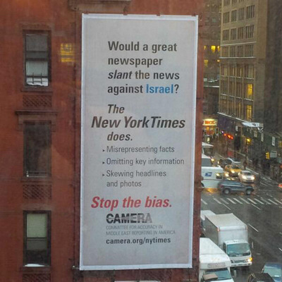 CAMERA.org Billboard Calls Out New York Times. (PRNewsFoto/Committee for Accuracy in Middle East Reporting in America) (PRNewsFoto/COMMITTEE FOR ACCURACY IN MID...)