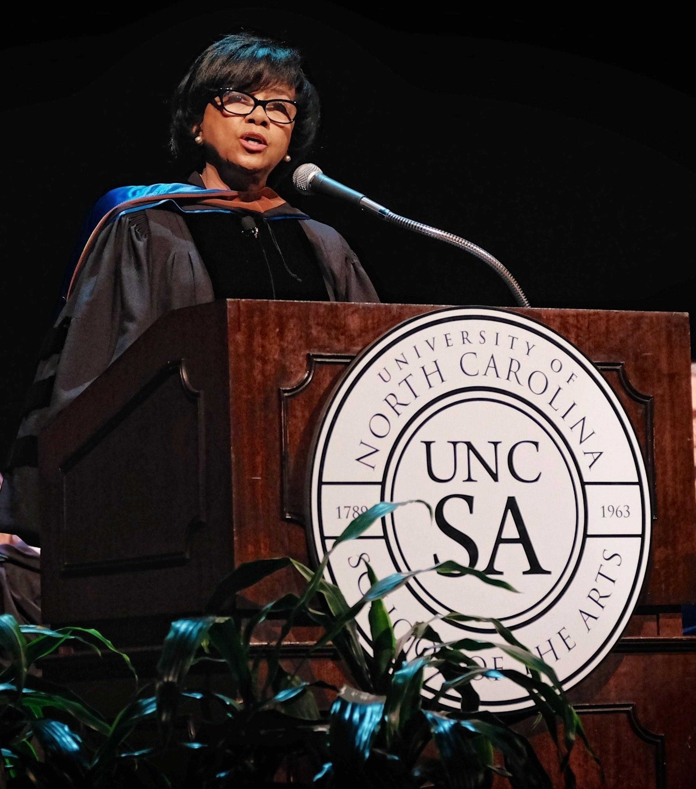 Cheryl Boone Isaacs addressed 235 graduates of the University of North Carolina School of the Arts in Winston-Salem on May 9.