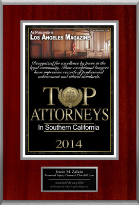 Attorney Irwin M. Zalkin Selected for List of Top Rated Lawyers in CA