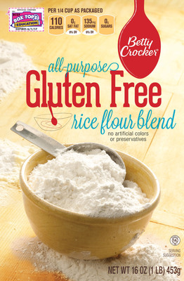 Betty Crocker(R) gives gluten-free consumers even more reasons to go back to the baking aisle with two new additions to the line of Betty Crocker Gluten Free baking products: Gluten Free Sugar Cookie mix and All-Purpose Gluten Free Rice Flour Blend.(PRNewsFoto/Betty Crocker)