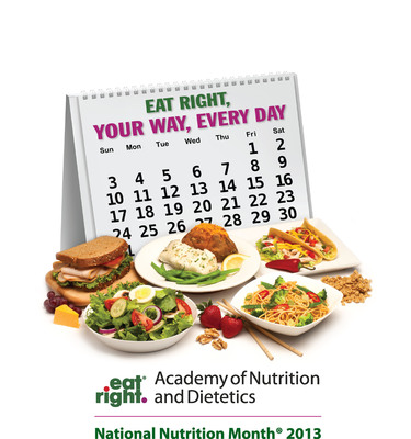 "March is National Nutrition Month, when the Academy of Nutrition and Dietetics encourages everyone to return to the basics of healthful eating. The 2013 National Nutrition Month theme is ""Eat Right, Your Way, Every Day,"" which emphasizes the advantages of developing a healthful eating plan that incorporates individual food choices and preferences.  (PRNewsFoto/Academy of Nutrition and Dietetics)"