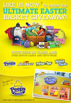Enter the PEEPS & COMPANY(R) Ultimate Easter Basket Giveaway at the company's Facebook page, www.facebook.com/PEEPSANDCOMPANY, to win over $1,000!  (PRNewsFoto/Just Born, Inc.)