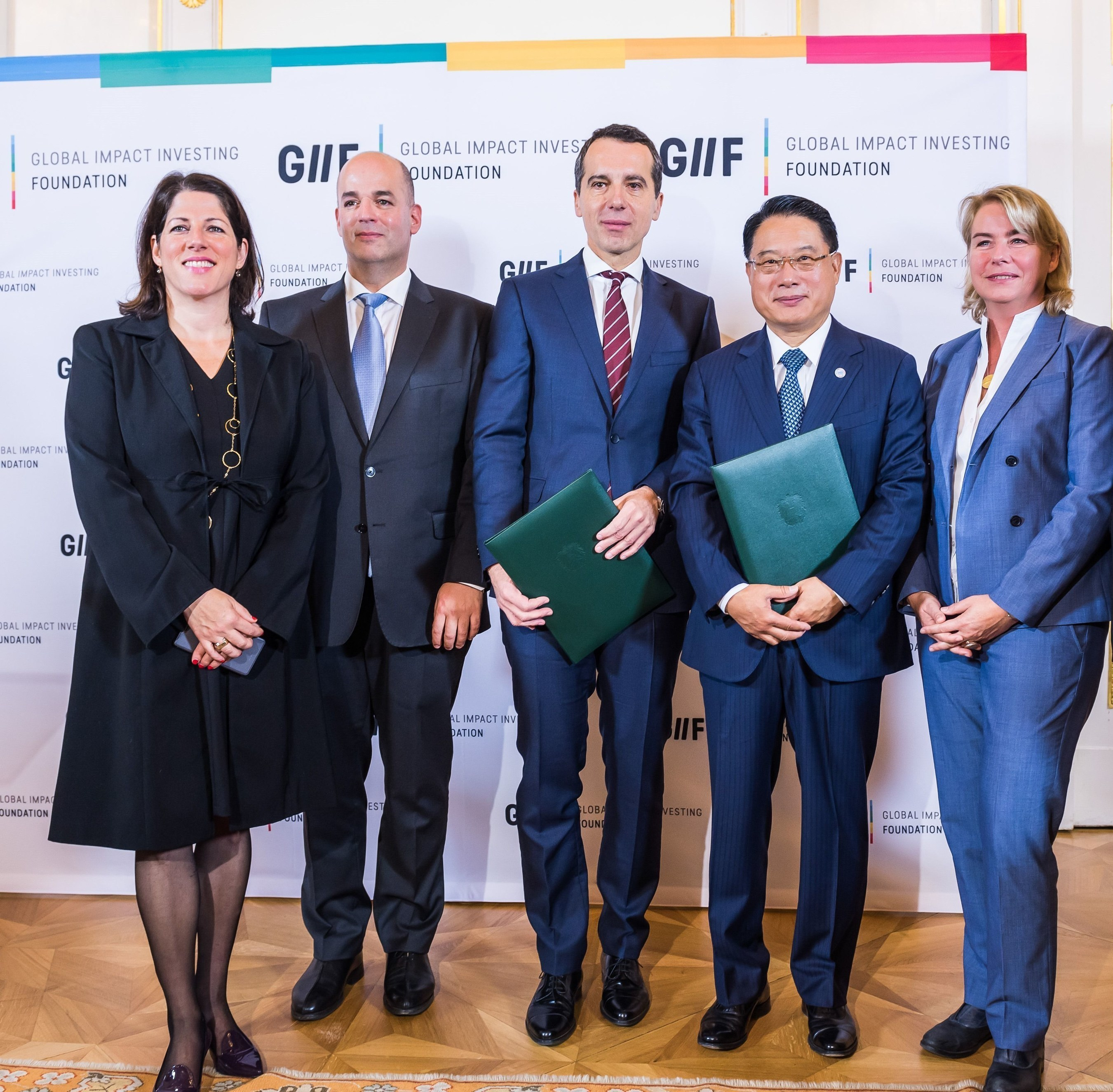 Austria and UNIDO sign Joint Declaration to support Global Impact Investment Foundation Major milestone for Impact Investment and Social Entrepreneurship achieved (f.r.t.l: Tanja Wehsely (Social City Vienna), GIIF President Alon Shklarek, Austrian chancellor Christian Kern, UNIDO Director General LI Yong, and Edeltraud Hanappi-Egger (PRNewsFoto/GIIF)