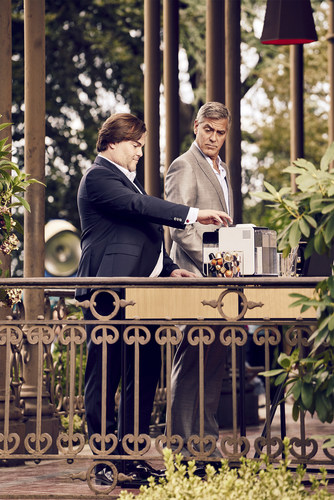 Nespresso brand ambassador George Clooney initiates new star Jack Black as they film the latest commercial, entitled Epiphany. For more information visit  www.nespresso.com/whatelse (PRNewsFoto/Nestle Nespresso SA) (PRNewsFoto/Nestle Nespresso SA)