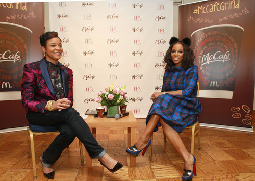 Celebrity stylist June Ambrose (right) and Harlem's Fashion Row (HFR) founder Brandice Henderson-Daniel discuss diversity in fashion with Howard University students. McDonald's partnered with HFR to launch the 2014 McCafe Student Fashion Design Competition, open exclusively to HBCU students. From now through April 15, students can submit at least one McCafe-inspired red carpet look. The grand prize winner's design will be worn by the McDonald's 365Black Awards red carpet host. Additionally, the student will also win an ...