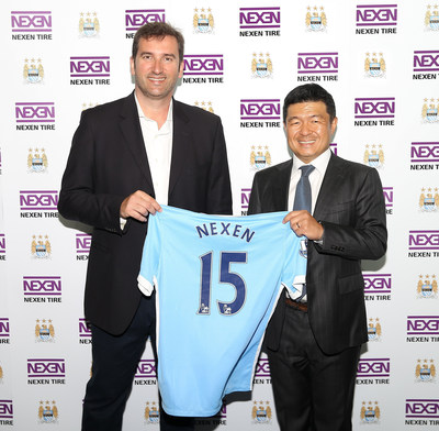 On August 6, Nexen Tire held a signing ceremony for their partnership agreement with Manchester City FC at the City Football Academy in Manchester, England and announced its Official Tire Partnership of Manchester City FC. Starting from the left, Ferran Soriano, Manchester City FC CEO, and Ho-Chan Kang, President of Nexen Tire.