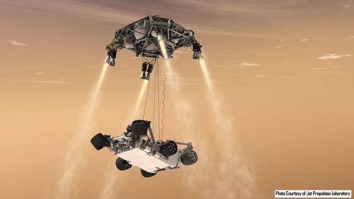 Mars Science Lab Sky Crane firing Aerojet MR-80B thrusters for descent to Mars. Credit: JPL.  (PRNewsFoto/Aerojet, JPL)