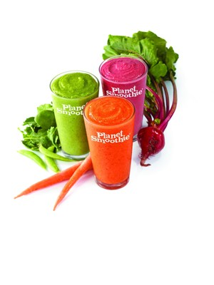 Planet Smoothie launches their VEGGIE LOVE smoothies: Just Beet It, 24 Carrot Mango-ld and Lean Green Extreme! This new line of veggie smoothies includes healthy ingredients such as beets, carrots and leafy greens! (PRNewsFoto/Planet Smoothie)