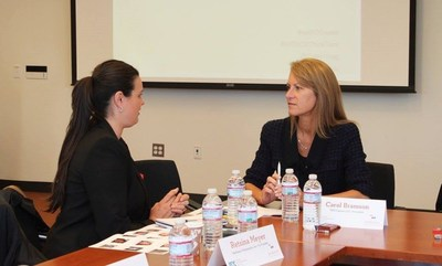 Carol Bramson, founder of TBG Capital, discusses how to assist women entrepreneurs in early and growth stages of business with co-panelist Retsina Meyer. Photo courtesy of the Samaya Consulting LLC Facebook page.