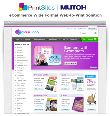 PrintSites - Provides the Industry's First Turnkey Web-to-Print eCommerce Storefronts with an All New Interactive Wide Format Online Design Studio! Whether you are a Printer, Print Broker or Graphic Designer propel your sales effort by starting with a Professional Web Presence that comes fully stocked with a 10,000 plus Product Template Library. This is just one of the many amazing features to help you get your storefront up and running faster than your competition. Learn How @ PrintSites.com