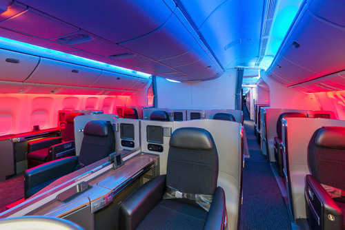 Interior Photo of Boeing 777-300ER First Class Cabin.  (PRNewsFoto/American Airlines)