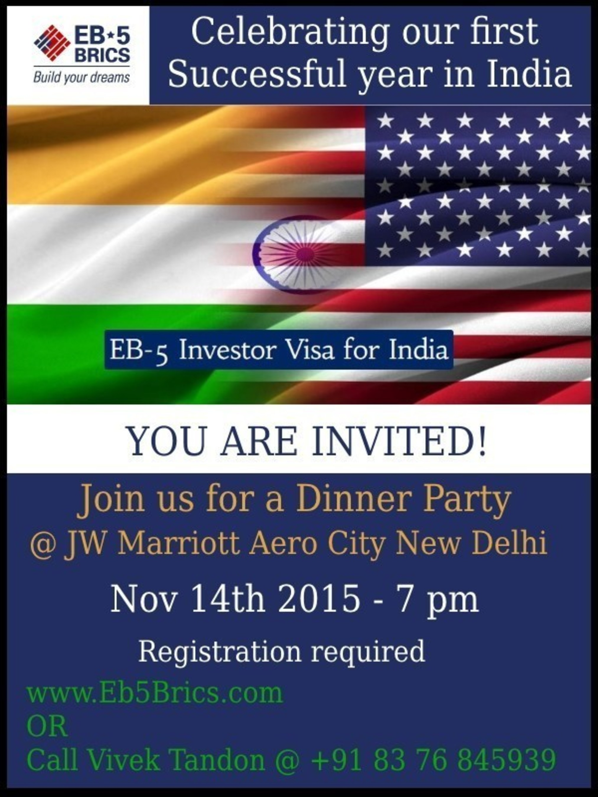 EB5 BRICS Announces Event to Celebrate One Year of Promoting Immigrant Investor Green Card Program