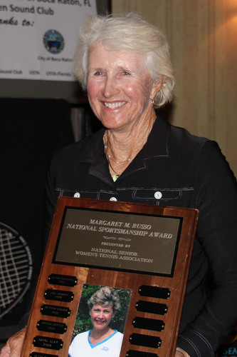 BallenIsles Country Club's Director of Tennis, Trish Faulkner receiving the Margaret M. Russo National ...