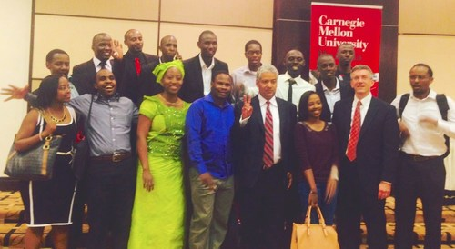 Larry Jennings with Carnegie Mellon University-Rwanda's graduating Class of 2014 (PRNewsFoto/Carnegie Mellon University...)