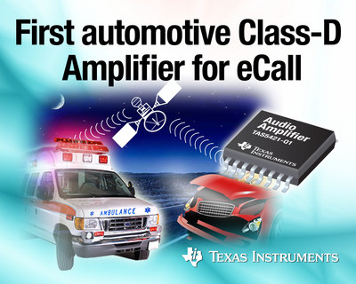 TI introduces first fully integrated mono, Class-D audio amplifier for eCall, instrument cluster and telematics (PRNewsFoto/Texas Instruments)