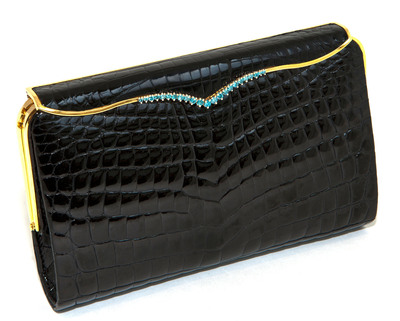 LANA MARKS:  $50,000 Blue Diamond Cleopatra Clutch by LANA MARKS in Black Alligator Worn by Kimberly Perry at the Grammy's Red Carpet 2012