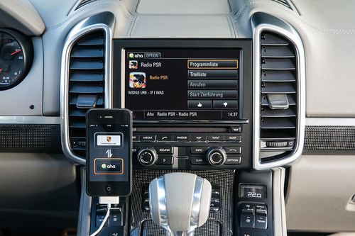 Porsche Showcases New Aha(TM) Integration at CES.  (PRNewsFoto/Porsche Cars North America, Inc.)