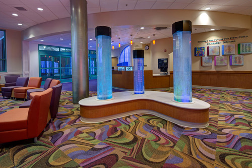 Interactive lobby includes kid-friendly features such as water-filled tubes that bubble and change colors as well as a game wall to capture the imagination of patients and visiting families.  (PRNewsFoto/Mt. Washington Pediatric Hospital)