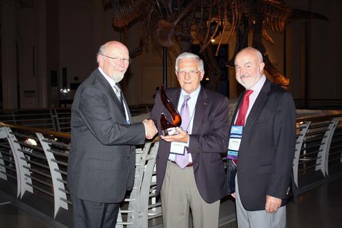 Esteban Chornet (in the centre), Enerkem co-founder and Chief Technology Officer, receives the 2013 Don Klass ...