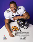 Ray Rice Toasts a Super Bowl Victory with Milk ... and a 'Stache.  (PRNewsFoto/Milk Processor Education Program (MilkPEP))