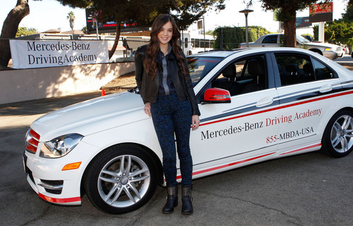 Hailee Steinfeld, Mercedes-Benz Driving Academy student and teen safe driving advocate, participates in National Teen Driver Safety Week event in Los Angeles.  (PRNewsFoto/Mercedes-Benz USA)
