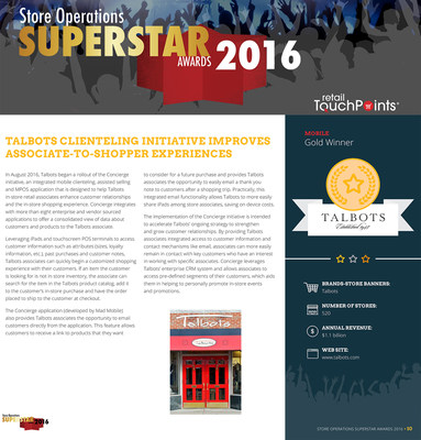 Talbots wins GOLD award with Mad Mobile's Concierge solution for store associates.