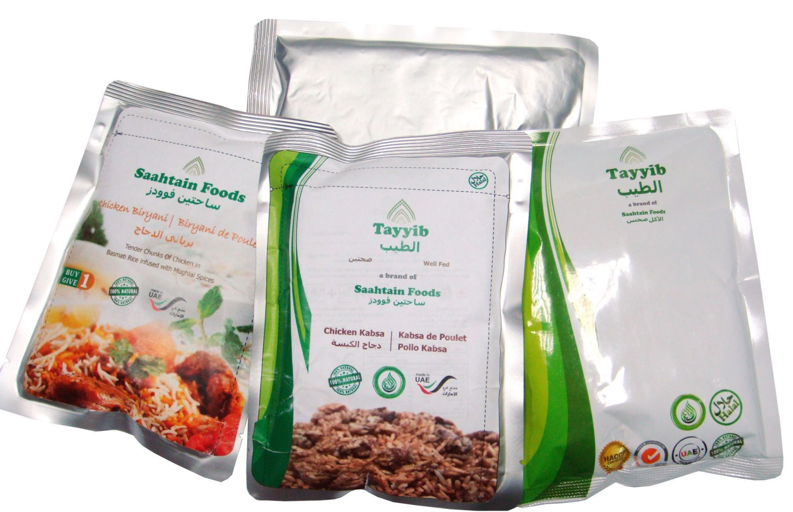 Tayyib Ready to Eat Meals last for 2 years in strong 4 layer pouches (PRNewsFoto/Saahtain Foods)