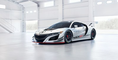 Acura unveiled the NSX GT3 race car at the New York International Auto Show on March 23, 2016.
