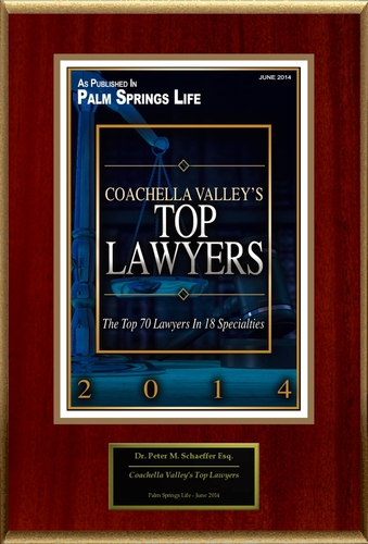 "Peter Schaeffer Selected For ""Coachella Valley's Top Lawyers"" (PRNewsFoto/American Registry) ..."