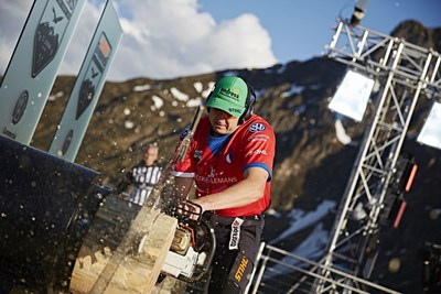 Czech Martin Komarek (here at the stock saw) became best placed European athlete and took fourth place. Picture credit: STIHL TIMBERSPORTS(R) Series (PRNewsFoto/STIHL TIMBERSPORTS Series)