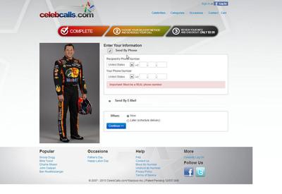 CelebCalls.com screen shot (send call page). Schedule your call TODAY! http://www.celebcalls.com