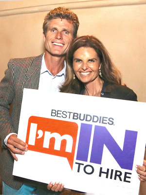 Maria Shriver joins Anthony Shriver for his I'M IN TO HIRE campaign to encourage businesses to hire people with intellectual and developmental disabilities. (PRNewsFoto/Best Buddies International)