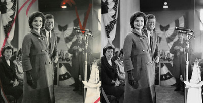 Before (left) and after versions of a photo of President-elect John F. Kennedy and his wife, Jacqueline, show the results of the Newseum's digital restoration process. Kennedy gave his acceptance speech in Hyannis Port, Mass., on Nov. 9, 1960, the day after the election. Estate of Jacques Lowe.