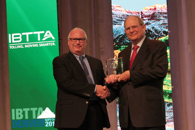Mr. Gary Trietsch (right), Executive Director of Harris County Toll Road, received the IBTTA 2016 Toll Excellence Award. He is pictured here with David Machamer, Oklahoma Turnpike Authority, chair of IBTTA's Toll Excellence Award Program.