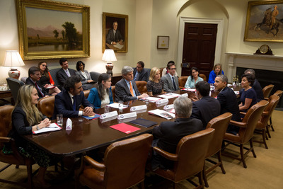 Hamdi Ulukaya, Chobani founder and CEO, meets with President Obama at the White House alongside other newly appointed Presidential Ambassadors for Global Entrepreneurship members.(PRNewsFoto/Chobani, Inc., Courtesy of The White House)