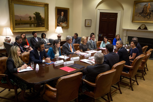 Hamdi Ulukaya, Chobani founder and CEO, meets with President Obama at the White House alongside other newly ...