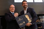 Gianluigi Buffon is awarded of the 2016 Golden Foot Hublot by His Serene Highness Prince Albert II of Monaco (PRNewsFoto/HUBLOT)