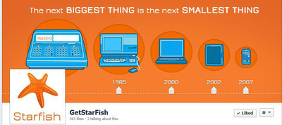 This chart shows the natural evolution of computing devices from larger to smaller and yet more powerful. The next step in the computing evolution is the interactive smartwatch, which Starfish is excited to present.  (PRNewsFoto/Starfish Technologies)