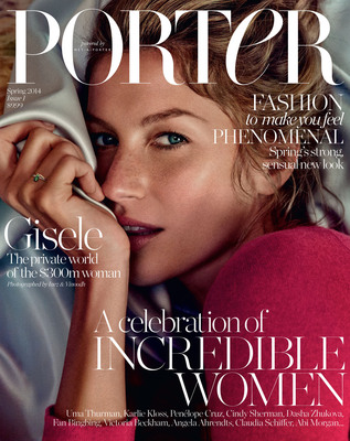 The first issue of PORTER featuring Gisele Bundchen on the cover is available at newsstands globally and via NET-A-PORTER.COM starting February 7.  (PRNewsFoto/The NET-A-PORTER Group)