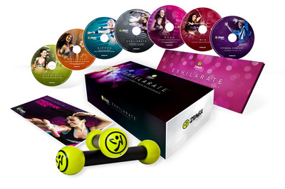 Zumba Fitness, LLC, creator of the acclaimed Zumba(R) fitness-party workout with a global following of tens of millions, announces Exhilarate, the seven-disc DVD collection packed with contagious routines set to a blend of international rhythms. The Zumba Fitness Exhilarate DVD Collection will be available for $89.95 in spring 2011; for a limited time only, a presale price is currently offered in the U.S. for $79.95. To pre-order the collection and view the Exhilarate trailer, visit https://exhilarate.zumba.com/static.  (PRNewsFoto/Zumba Fitness, LLC)