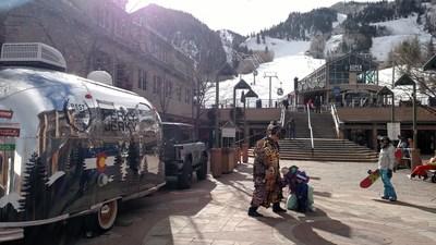 Perky Jerky's Jerkman hits the slopes in Aspen, CO