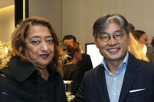 David Chu and Dame Zaha Hadid at the Georg Jensen flagship launch (PRNewsFoto/Georg Jensen) (PRNewsFoto/Georg ...