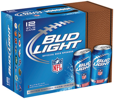 "Bud Light, the official beer sponsor of the NFL, will celebrate the ""Year of the Fan"" in 2012 with NFL- and team-branded 12-packs of cans featuring innovative tactile packaging that feels like an actual football. The cans will feature the NFL Shield, and team-specific cans will be available in their respective markets.  (PRNewsFoto/Anheuser-Busch)"