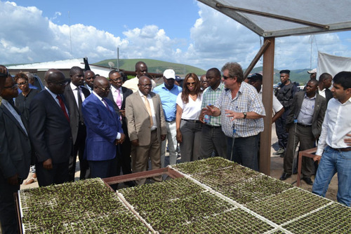 Governor Andre Kimbuta tours Kitoko Food Farm, a joint Gertler Family Foundation (GFF) and Fleurette Group ...