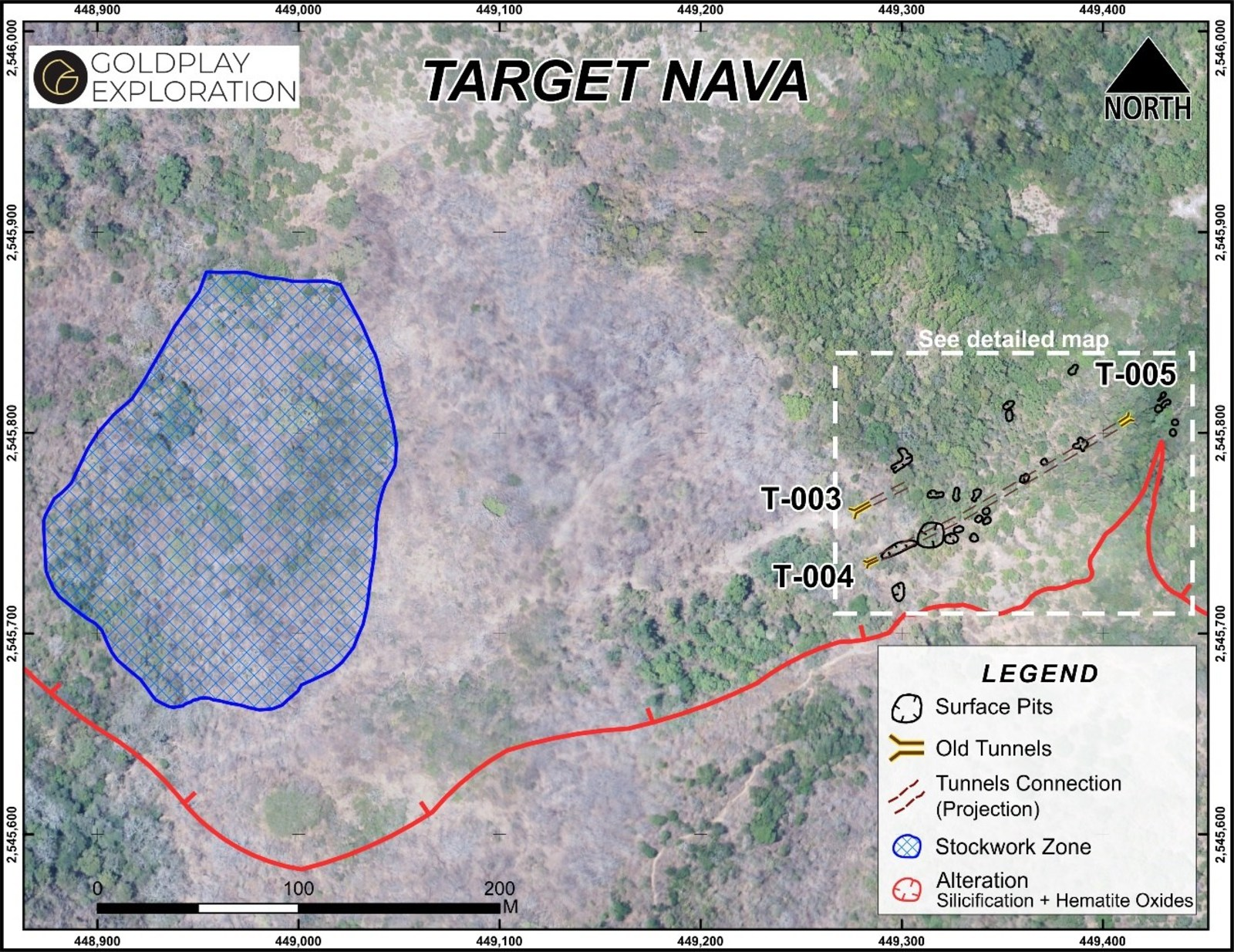 Figure 3 Nava Zone – Location of Tunnels, Old Workings and Stockwork Zone